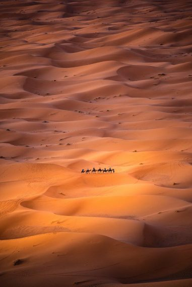 """Alone in the desert:"" The shot was taken from a high dune in Morocco, where Nomads are moving ... [+] Photo: Carles Alonso @carlesalonsophotography, Spain - AGora"