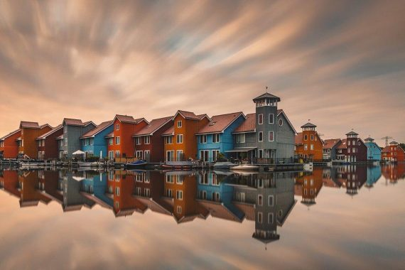 """Reitdiephaven:"" Long exposure sunset shot in the Dutch city of Groningen. Photo: Anskar Lenzen @anskar, Germany - Agora"