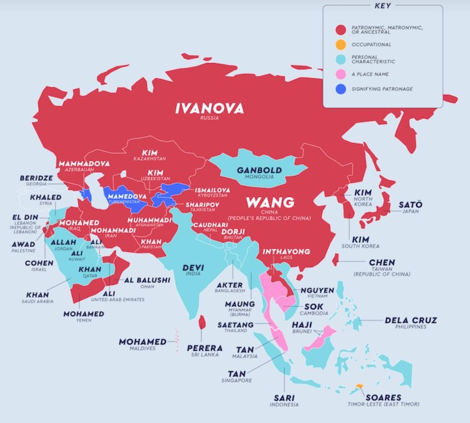 Самые популярные фамилии в разных странах